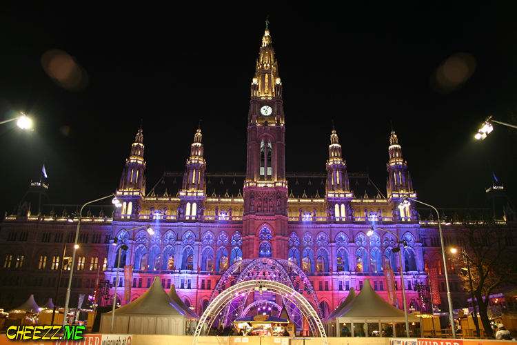 Rathaus in night Vienna