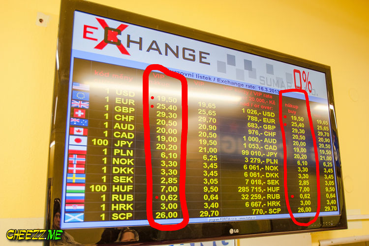 Курсы обмена валюты в Праге