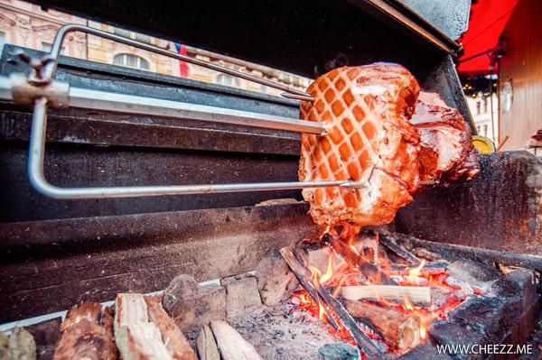 new year in Prague - taste baked knee on  street