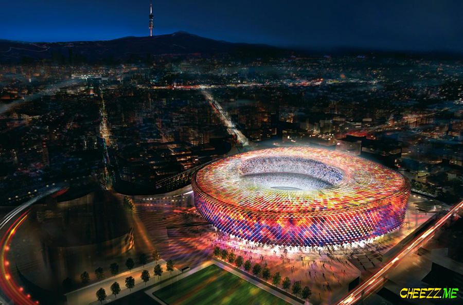 Barcelona helicopter tour stadium camp nou in night