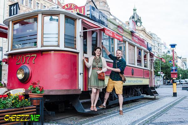 Wenceslas Square cafe tram